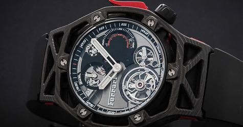 高超成型技術的衝擊外型 宇舶Techframe Ferrari陀飛輪計時碼錶