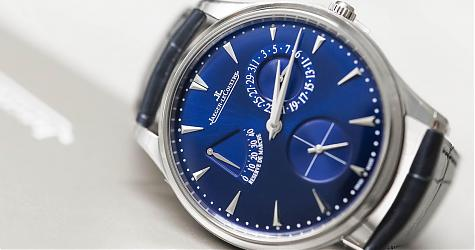 細膩考究的湛藍紳士 積家超薄大師動力儲存顯示腕錶