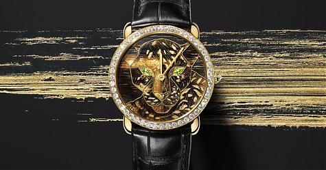 SIHH 2018:前所未見的嶄新工藝 卡地亞Ronde Louis Cartier金箔細木鑲嵌腕錶