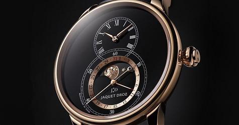 亮點就是要放大尺寸來看 雅克德羅黑色琺瑯月相大秒針腕錶