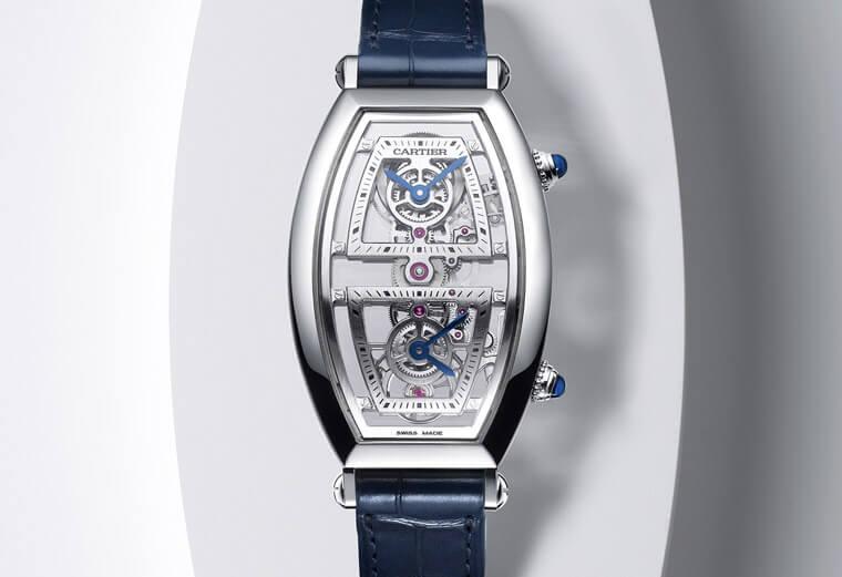 名符其實的兩地時間錶 卡地亞Tonneau雙時區鏤空腕錶