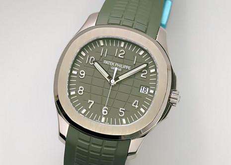 百達翡麗Aquanaut白金款5168以卡其綠面展現陽光運動感
