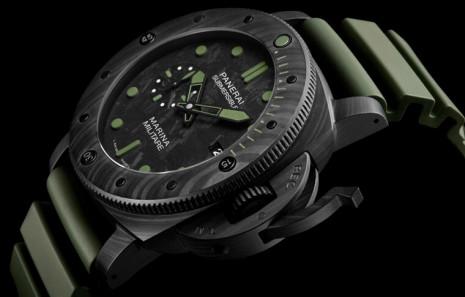 沛納海961使用輕量化Carbotech錶殼加上綠色夜光塗層 詮釋現代軍錶的理想規格