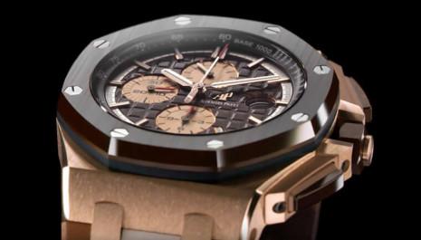 第一次看到愛彼ROO計時錶出玫瑰金錶殼搭棕色陶瓷圈和迷彩膠帶的組合