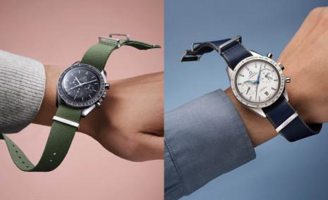 歐米茄提供各種不同材質、顏色和設計的NATO錶帶賦予手錶多種風貌