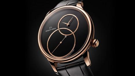 雅克德羅新款偏心大秒針手錶運用墨玉材質打造面盤
