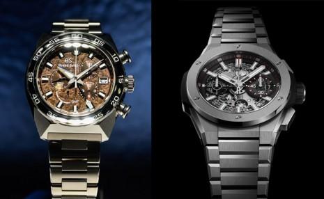 GS和宇舶的鈦金屬鍊帶計時錶除了輕和耐腐蝕 設計也各有亮點