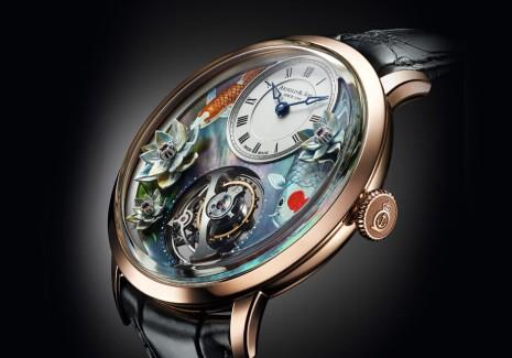 亞諾表這支超薄陀飛輪錦鯉手錶超稀有 面盤工藝有亮點
