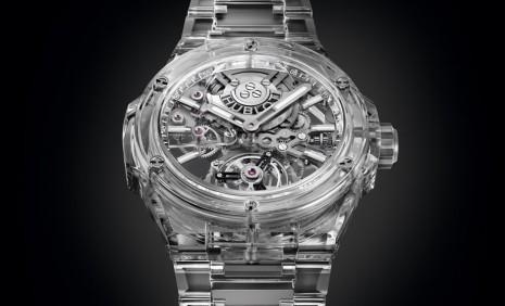 宇舶Big Bang透明陀飛輪從錶殼、鍊帶到機芯都有藍寶石水晶