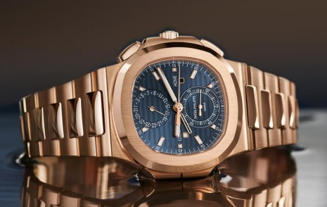 PP金鷹5990改款換上玫瑰金錶殼搭藍色放射紋面盤
