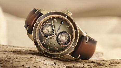 萬寶龍1858世界時間手錶青銅錶殼背面有特殊戈壁沙漠雷雕