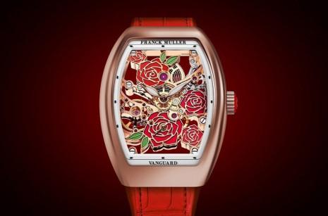 FRANCK MULLER Vanguard鏤空錶結合金雕與琺瑯玫瑰花展現視覺魅力