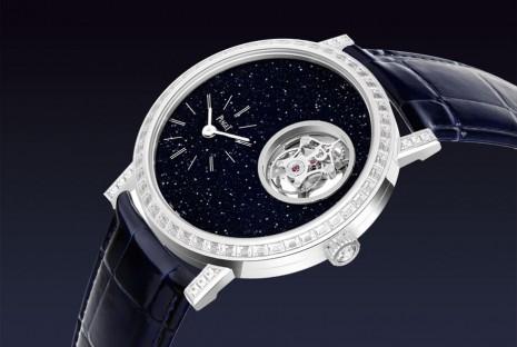 伯爵Altiplano超薄陀飛輪採砂金石面盤搭配鑲鑽錶殼華麗組合