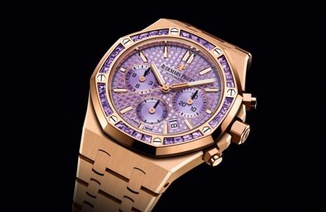 AP皇家橡樹計時錶首見紫水晶錶圈 紫色面盤更有特殊幻彩效果